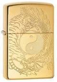 Zippo Tiger & Dragon Design High Polish Brass Finish Lighter - Made In USA